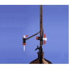 BURETA   25ml AUTOMÁTICA PELLET AMBAR, TORNEIRAS EM TEFLON (LAT./INTERMED.) C/FRASCO ARMAZENAGEM 2L, DIV.0,1ml  BRAND UND