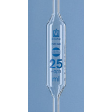 PIPETA VOLUMÉTRICA   3ml  BRAND CLASSE A GRAV ESMALTE AZUL COM CERTIFICADO DE LOTE (EM CONFORMIDADE COM ISO 9000) UND